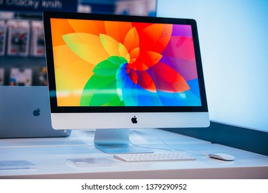 BARCELONA, SPAIN, APRIL. 19. 2019: Apple iMac computer in Apple store. retina 4K display