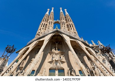 "BARCELONA SPAIN, April, 19, 2019 -  ""La Sagrada Familia"", the cathedral designed by Gaudi, which is being build since 19 March 1882 with the donations of people"