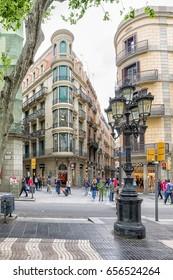 BARCELONA, SPAIN - APRIL 19: Citylife near street La Rambla on April 19, 2017 in Barcelona