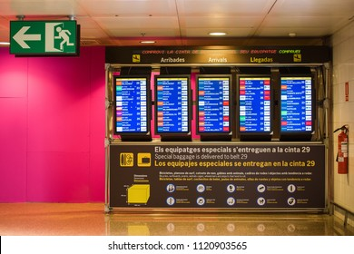 BARCELONA, SPAIN - APRIL 20, 2017: Airport information board - arrival and departure display. Copy space for text