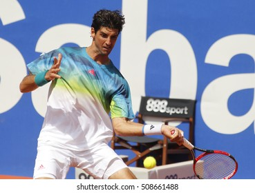 BARCELONA, SPAIN - APRIL, 20: Brazilian tennis player Thomaz Bellucci in action during a match of Barcelona tennis tournament Conde de Godo on April 20, 2016 in Barcelona