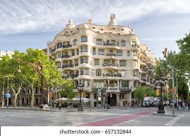 BARCELONA, SPAIN - APRIL 20: Modernist house Casa Mila also known as La Pedrera designed by  Antoni Gaudi  on April 20, 2017 in Barcelona