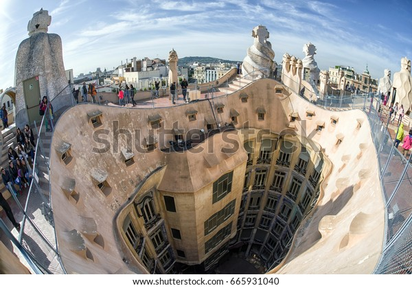 BARCELONA, SPAIN - APRIL 20:  Roof of modernist house Case Mila also known as La Pedrera designed by  Antoni Gaudi  on April 20, 2017 in Barcelona