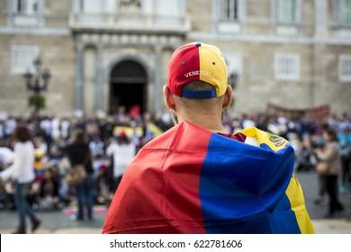 BARCELONA, SPAIN - APRIL 2017 - Venezuelan people prortest in Barcelona against Venezuelan Politicians on April 15, 2017 in Saint James's Square, Barcelona, Spain.