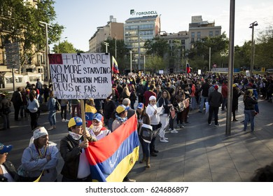 BARCELONA, SPAIN - APRIL 2017 - Venezuelan people protest in Barcelona against Venezuelan Politicians on April 19, 2017 in Urquinaona Square, Barcelona, Spain.