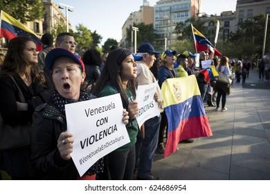 BARCELONA, SPAIN - APRIL 2017 - Venezuelan people protest in Barcelona against Venezuelan Politicians on April 19, 2017 in Urquinaona Square, Barcelona, Spain.