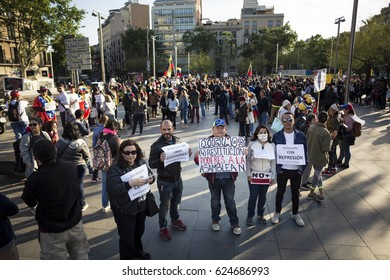 BARCELONA, SPAIN - APRIL 2017 - Venezuelan people prortest in Barcelona against Venezuelan Politicians on April 19, 2017 in Urquinaona Square, Barcelona, Spain.