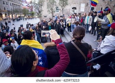 BARCELONA, SPAIN - APRIL 2017 - Venezuelan people did a vigil in Barcelona to remember the people killed in Venezuela on April 21, 2017 in Barcelona, Spain.