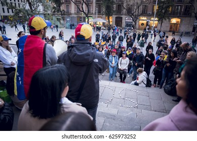 BARCELONA, SPAIN - APRIL 2017 - Venezuelan people did a vigil in Barcelona to remember the people killed in Venezuela on April 21, 2017 in Barcelona, Spain.