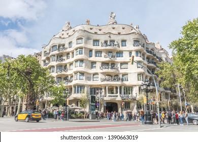 Barcelona, Spain, April 2019 - House of Casa Mila.