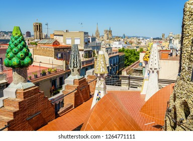 Barcelona, Spain, April 21, 2017: Rooftop view from Palau Guell feturing decorative sculptures by Antoni Gaudi