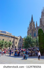 BARCELONA, SPAIN  - APRIL 21, 2018: Cathedral of the Holy Cross and Saint Eulalia, or Barcelona Cathedral