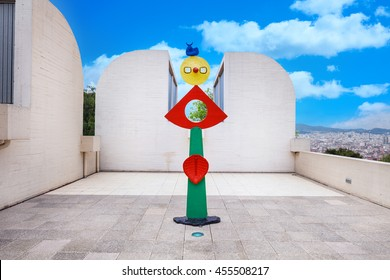 Barcelona, SPAIN - April 22, 2016: sculpture in Fundacio Foundation Joan Miro museum of modern art