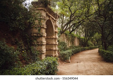 BARCELONA, SPAIN - APRIL 22, 2016: Retro style details in Parc del Laberint Horta.
