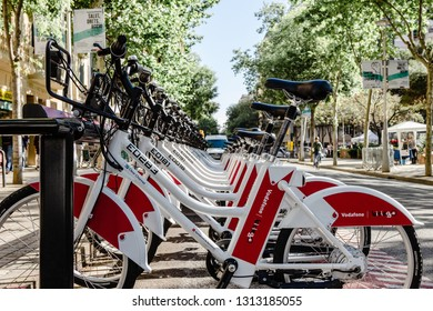 BARCELONA, SPAIN - APRIL 23, 2016: Public Service Vehicles bicycles Vodafone Bicing in Barcelona