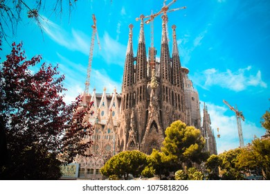 Barcelona, Spain, April 24, 2017: Sagrada Familia. Church in the Eixample district, built on private donations since 1882; famous project by Antonio Gaudi