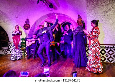 Barcelona, Spain, April 24, 2017: Traditional Flamenco performance at a club in Barcelona, Spain