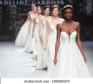 BARCELONA / SPAIN - APRIL 24: models walking on the Mori Lee catwalk during the Barcelona Bridal Fashion Week runway collection 2020 on April 24, 2019 in Barcelona, Spain.