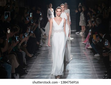 BARCELONA / SPAIN - APRIL 24: a models walking on the Rosa Clara catwalk during the Barcelona Bridal Fashion Week runway collection 2020 on April 24, 2019 in Barcelona, Spain.