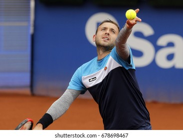 BARCELONA, SPAIN - APRIL, 27: British tennis player Dan Evans in action during a match of Barcelona tennis tournament Conde de Godo on April 27, 2017 in Barcelona Spain