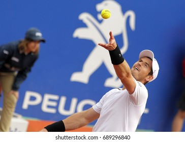BARCELONA, SPAIN - APRIL, 27: British tennis player Andrew Murray in action during a match of Barcelona tennis tournament Conde de Godo on April 27, 2017 in Barcelona Spain