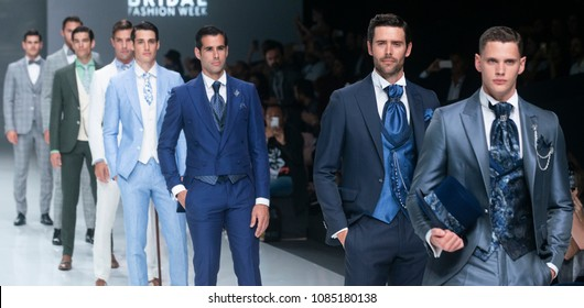 BARCELONA / SPAIN - APRIL 27: models walking on the Ramon Sanjurjo catwalk during the Barcelona Bridal Fashion Week runway collection 2019 on April 27, 2018 in Barcelona, Spain.