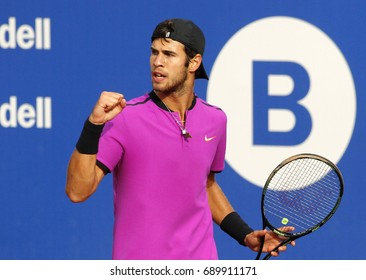 BARCELONA, SPAIN - APRIL, 27: Russian tennis player Karen Khachanov in action during a match of Barcelona tennis tournament Conde de Godo on April 27, 2017 in Barcelona Spain