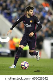 BARCELONA, SPAIN - APRIL, 29: Gerard Pique of FC Barcelona during a Spanish League match against RCD Espanyol at the RCDE Stadium on April 29 2017, in Barcelona Spain