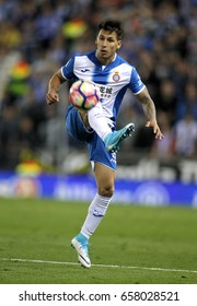 BARCELONA, SPAIN - APRIL, 29: Hernan Perez of RCD Espanyol during a Spanish League match against FC Barcelona at the RCDE Stadium on April 29 2017, in Barcelona Spain