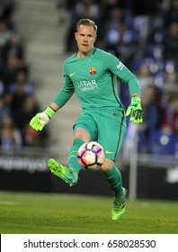 BARCELONA, SPAIN - APRIL, 29: Marc-Andre ter Stegen of FC Barcelona during a Spanish League match against RCD Espanyol at the RCDE Stadium on April 29 2017, in Barcelona Spain