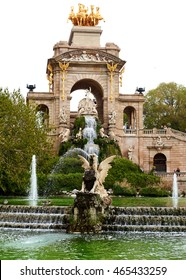 Barcelona, Spain - April 4, 2016: The Cascada fountain, built on 1888. Fountain located in the Ciutadella Park, one of the finest parks in Barcelona. Spain