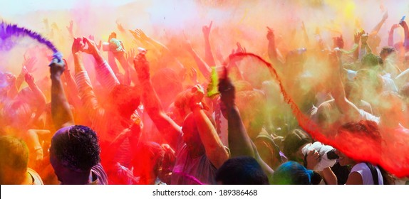 BARCELONA, SPAIN - APRIL 6, 2014:  Festival Holi in Barcelona. Holi is traditional holiday of Indian Culture