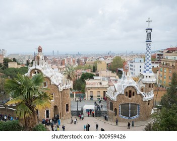 BARCELONA, SPAIN - APRIL 7, 2015: Park Guell - creation of Antoni Gaudi, UNESCO World Heritage Site.