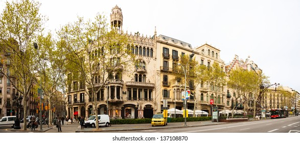 BARCELONA, SPAIN - APRIL 8: Casa Lleo Morera at Passeig de Gracia in April 8, 2013 in Barcelona, Spain. Was built in 1902-1906 by architect Domenech i Montaner, Catalan modernism architecture style
