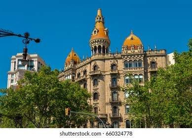 BARCELONA, SPAIN - APRIL 9, 2017: Casa Rocamora or Casa Lleo Morera built by the Bassegoda brothers in Passeig de Gracia