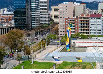 BARCELONA, SPAIN - APRIL 9, 2019.: The statue 'Woman and Bird' (Dona i ocell), by Joan Miro in Miro park.
