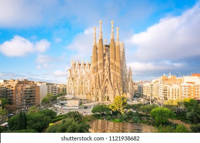 BARCELONA, SPAIN - April 9: Sagrada Familia on April 9, 2018 in Barcelona, Spain. This impressive cathedral was originally designed by Antoni Gaudi is still being built since 1882.