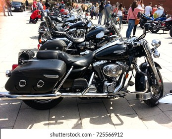 Barcelona / Spain - April.12.2014 - Harley Davidson motorcycle meeting at Castellar del Vallés village in Barcelona province