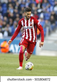 BARCELONA, SPAIN - APRIL,9: Yannick Ferreira Carrasco of Atletico Madrid  during a Spanish League match against RCD Espanyol at the Power8 stadium on April 9, 2016 in Barcelona, Spain