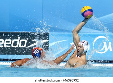 BARCELONA, SPAIN - AUG, 1: Felipe Perrone(L) of Spain and Zivko Gocic(R) of Serbia during a match of World Championship BCN2013 at the Picornell Swimming pool on August 1, 2013 in Barcelona Spain