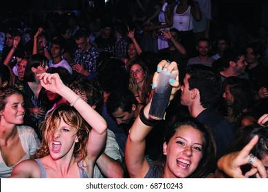 BARCELONA, SPAIN - AUG 20: Fans of Mendetz band, concert at Discotheque Razzmatazz on August 20, 2010 in Barcelona, Spain.