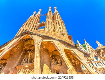 BARCELONA, SPAIN -AUG 27, 2009: Details from the Sagrada Familia famous church in Barcelona, Spain on Aug 27, 2009. HDR processed