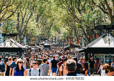 BARCELONA, SPAIN - AUGUST 04, 2016: Crowd Of People In Central Barcelona City On La Rambla Street.