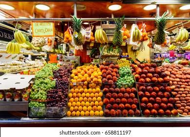 BARCELONA, SPAIN - AUGUST 05, 2016: Fresh Fruits For Sale In Barcelona Market (Mercat de Sant Josep de la Boqueria), a large public market and a tourist landmark with entrance from La Rambla street.