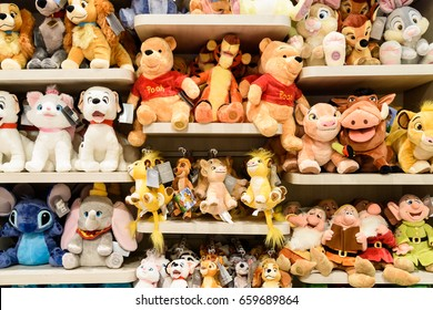 BARCELONA, SPAIN - AUGUST 05, 2016: Plush Toys For Kids At Sale In Disney Store.