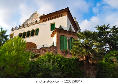 BARCELONA, SPAIN - AUGUST 06, 2014: The park Guell is the most famous and beautiful park in Barcelona which was designed by Antoni Gaudi. Antoni Gaudi's house
