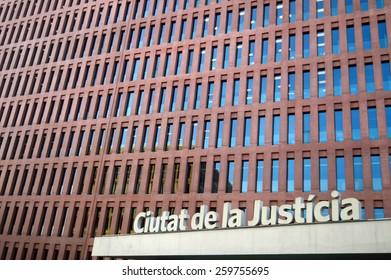 Barcelona, Spain - August 07, 2014,  Ciutat de la Justicia, Court building in Barcelona