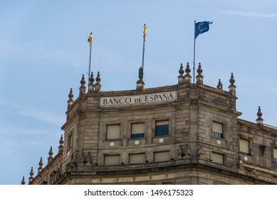 Barcelona, Spain - August 1, 2019: Bank of Spain building on the background of blue sky