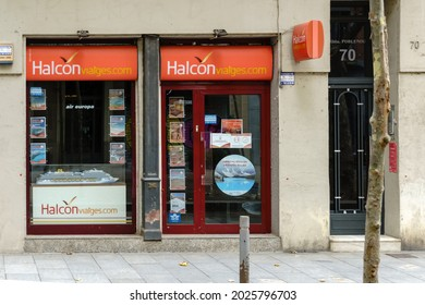 Barcelona, Spain - August 1, 2021. Logo and facade of Halcon viajes, a chain of Spanish travel agencies