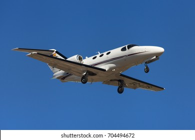 Barcelona, Spain - August 10, 2017: Clipper Jet Cessna 510 Citation Mustang approaching to El Prat Airport in Barcelona, Spain.